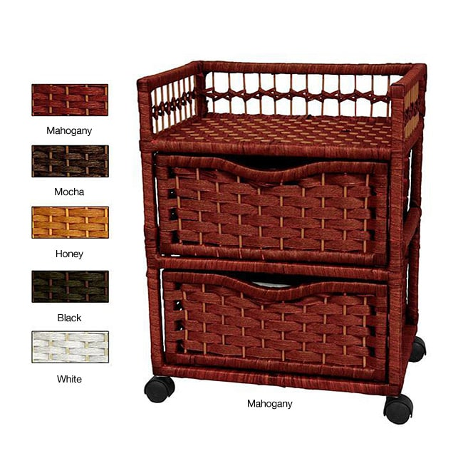 Natural Fiber Wheeled 2-drawer Chest of Drawers (China)