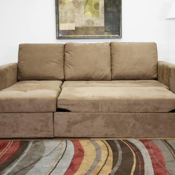 Shop Linden Tan Microfiber Convertible Sectional Sofa Bed ...