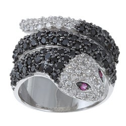 La Preciosa Sterling Silver Black and White Cubic Zirconia Snake Ring