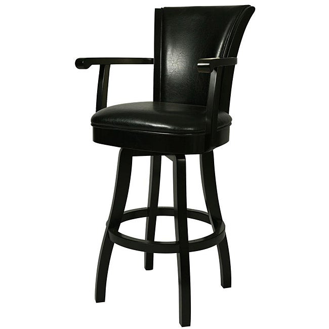 Glenwood 26 Inch Feher Black Wood Swivel Bar Stool Free