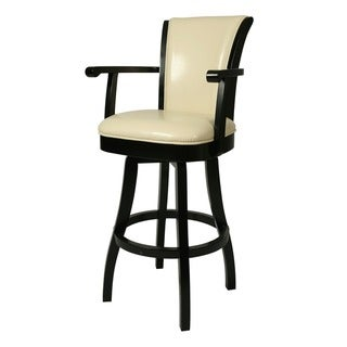 Glenwood 26-inch Wood Cream Leather Swivel Bar Stool