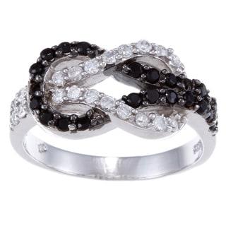 La Preciosa Sterling Silver Black and White CZ Love Knot Ring