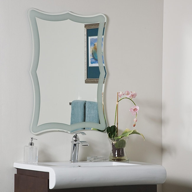 bathroom mirrors overstock coquette frame less bathroom mirror 13434561 overstock 11157
