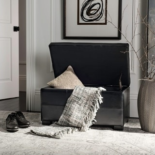 Safavieh Maiden Tufted Black Bicast Leather Small Indoor Storage Bench