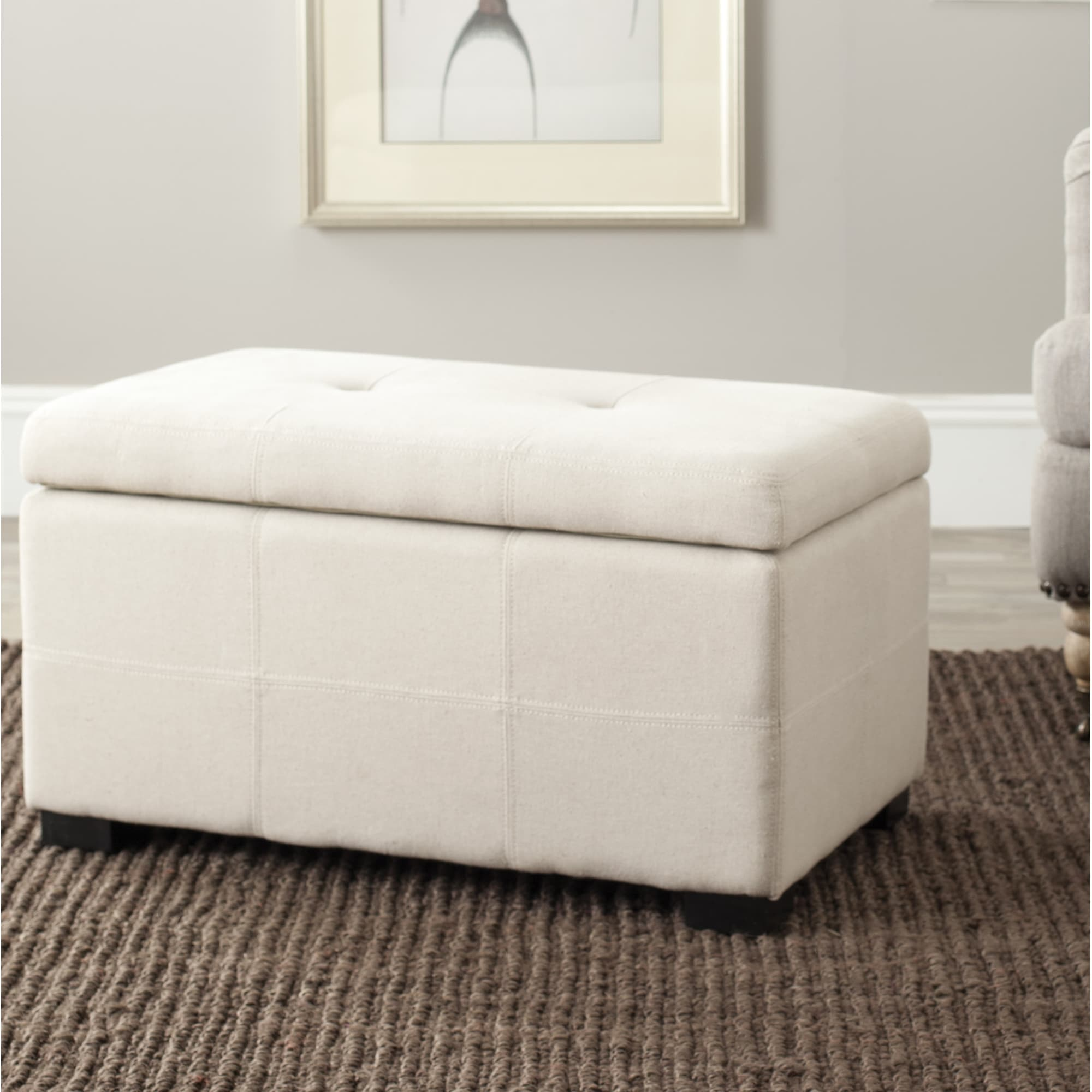 Safavieh Maiden Tufted Beige Linen Small Indoor Storage B...