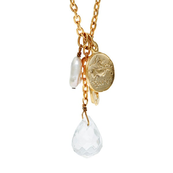 Goldplated Pearl Clover Necklace (18 mm) (USA)