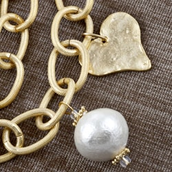 Goldplated and Glass Loopy Heart Necklace