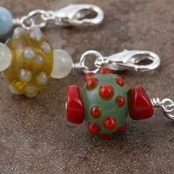 Silverplated Bubbly Bumps Gemstone Charm - Thumbnail 1