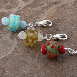 Silverplated Bubbly Bumps Gemstone Charm - Thumbnail 2