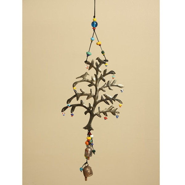 Handmade Iron and Glass Tree of Life Bell Hanging Art (India)