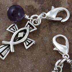 Fashion Forward Pewter Amethyst/ Quartz Cross Charms (Set of 2) - Thumbnail 2