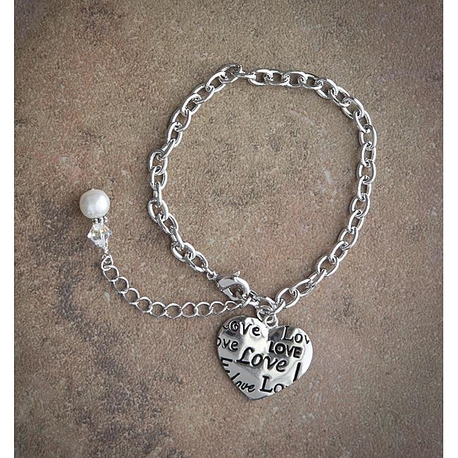Fashion Forward Rhodiumplated 'Love' Pearl Charm Bracelet (7-9 mm)