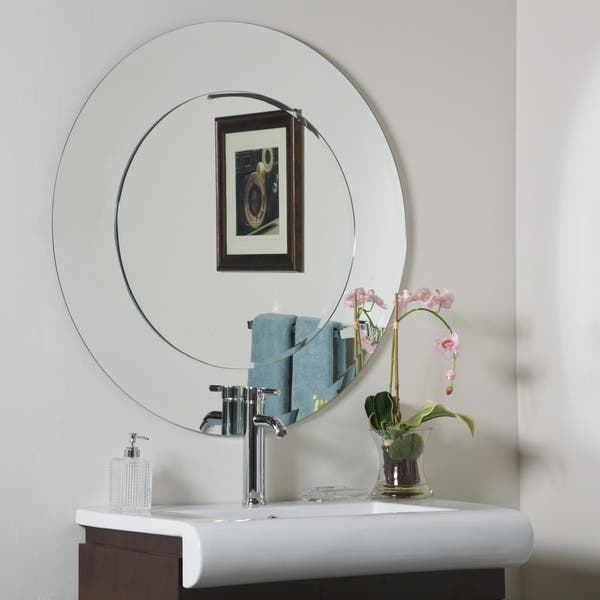Oriana Round Modern Bathroom Mirror 39 Inch Diameter Overstock 5692912