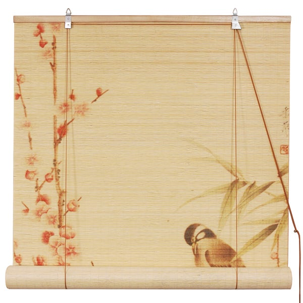Handmade Bamboo 'Love Birds' Window Blinds (24 in. x 72 in.) (China)