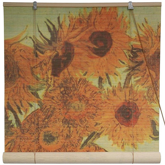 Handmade Bamboo Sunflowers Window Blinds 24 in X 72 in