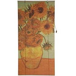 Handmade Bamboo 'Sunflowers' Window Blinds (24-in x 72-in) (China) - Thumbnail 2