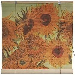 Handmade Bamboo 'Sunflowers' Window Blinds (24-in x 72-in) (China)