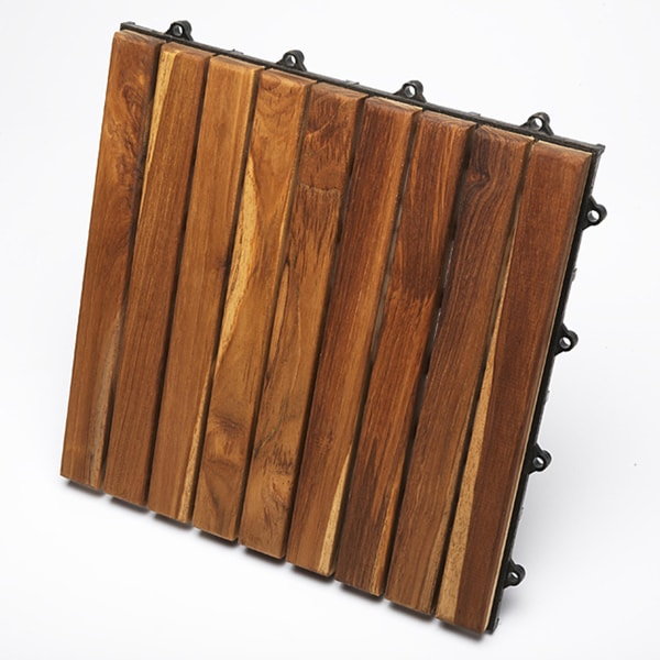 Le click teak interlocking deck tiles set of