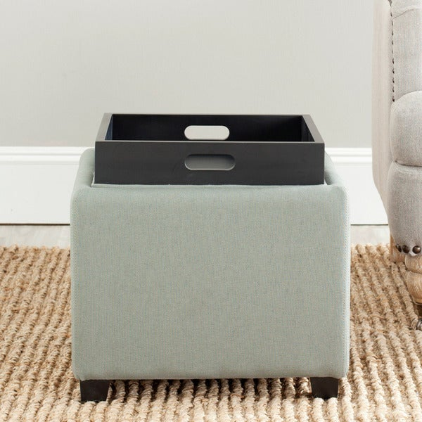 Safavieh Harrison Storage Grey Linen Tray Ottoman