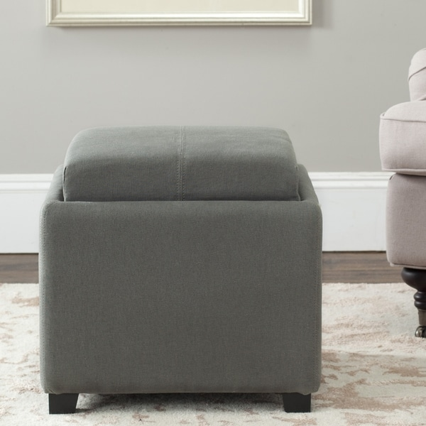 Safavieh Harrison Storage Dark Grey Linen Tray Ottoman