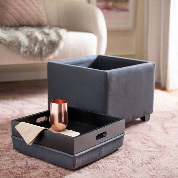 Pleasing Shop Safavieh Harrison Storage Dark Grey Linen Tray Ottoman Bralicious Painted Fabric Chair Ideas Braliciousco