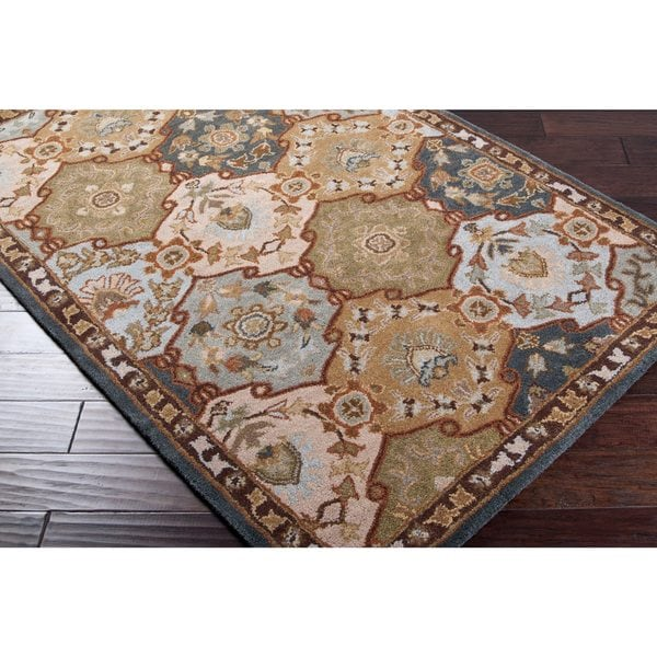 Hand-tufted Coliseum Blue Wool Area Rug - 2'6 x 8'
