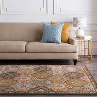 Hand-tufted Coliseum Blue Wool Area Rug - 6' x 9'