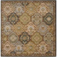 Hand-tufted Coliseum Blue Wool Area Rug (8' Square)