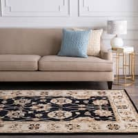 "Hand-tufted Coliseum Black Wool Area Rug - 7'6"" x 9'6"""