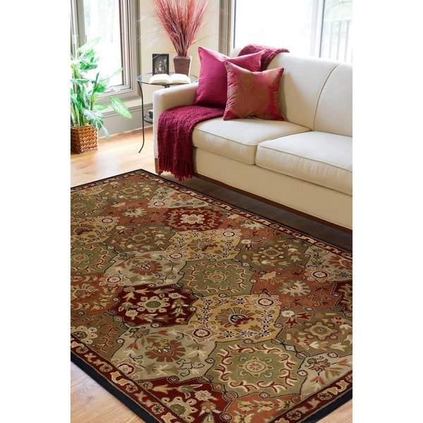 Hand-tufted Coliseum Red Wool Rug (9' x 12')