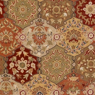 Hand-tufted Coliseum Red Wool Area Rug - 99 Round (Red - 99 Round)