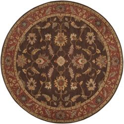 Hand-tufted Coliseum Brown Floral Border Wool Rug (4' Round)