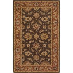 Hand-tufted Coliseum Brown Floral Border Wool Rug (6' x 9')