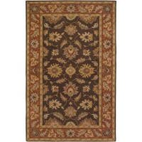Hand-tufted Coliseum Brown Floral Border Wool Area Rug (6' x 9')