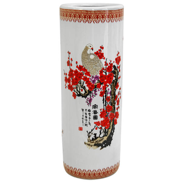 Porcelain 24-inch Cherry Blossom Umbrella Stand (China) - Multi