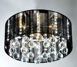 Black Shade 5-light Satin Nickel and Clear Crystal Ceiling Lamp - Thumbnail 2