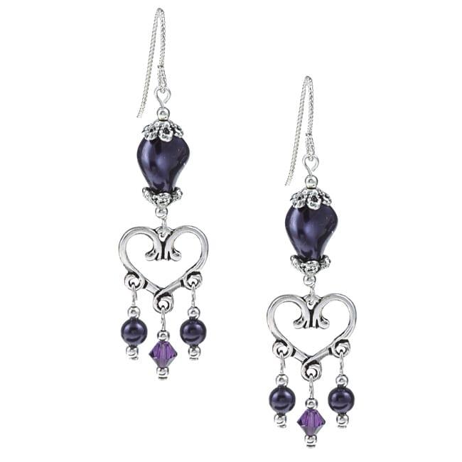 MSDjCASANOVA Argentium Silver Dark Purple Heart Crystal Earrings