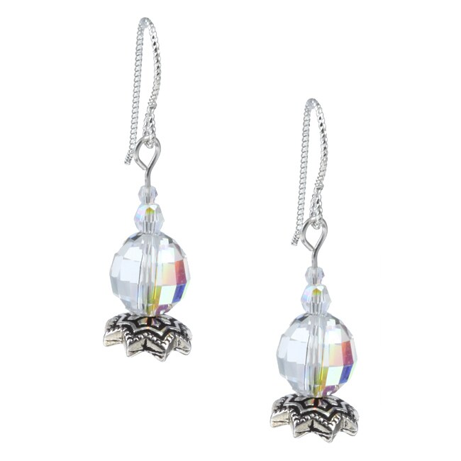 Argentium Silver AB Crystal Star Flower Earrings