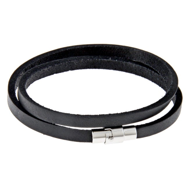 Stainless Steel and Black Leather Men's Double Wrap Bracelet