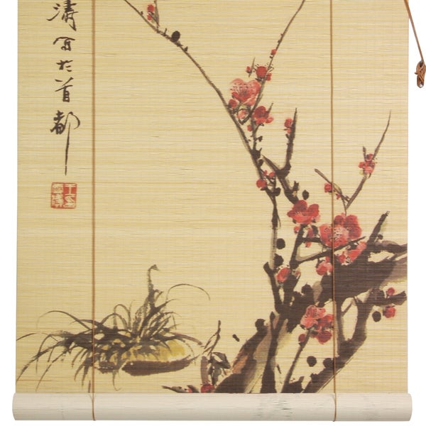 Handmade Bamboo Sakura Blossom Blinds (24 in. x 72 in.) (China)