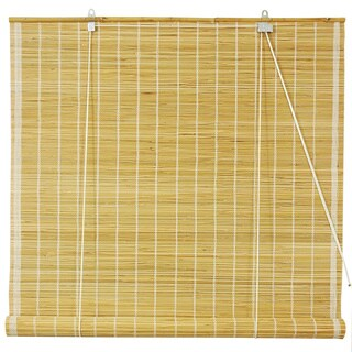 Handmade Matchstick Natural Roll-up Window Blinds (60in. x 72 in.) (China) - 60 x 72
