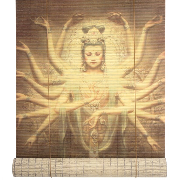 Handmade Bamboo 24-inch Thousand Arm Kwan Yin Window Blinds (China)