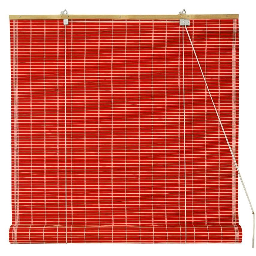 Handmade Bamboo Red Roll-up Window Blinds (72 in. x 72 in.) (China)