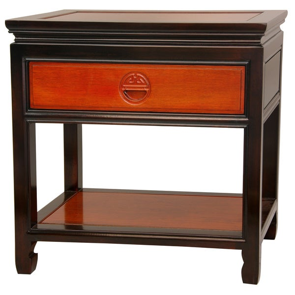 Handmade Rosewood Two-tone Bedside Table (China)