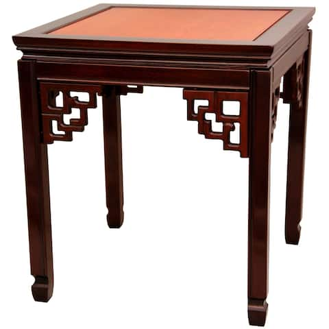 """Handmade Rosewood Two-tone Square Ming Table - 22""""W x 24""""D x 22""""H"""