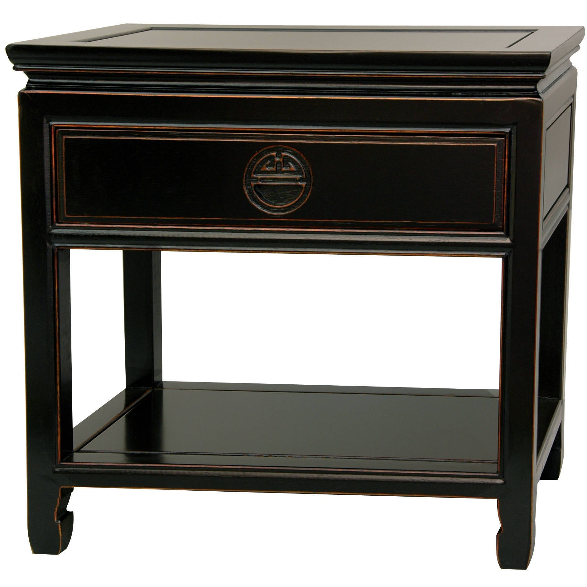 Rosewood Antique Black Bedside Table (China) (Rosewood Be...