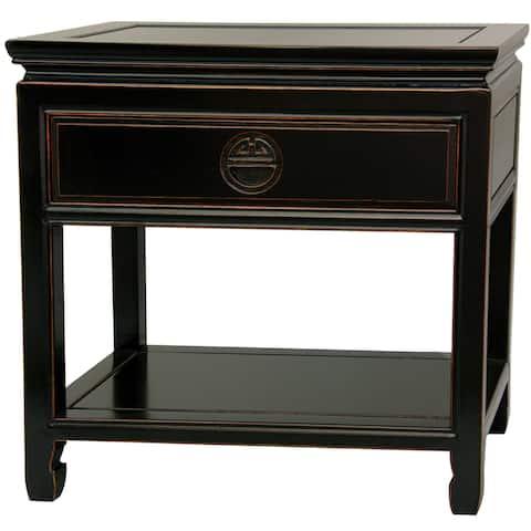 Handmade Rosewood Antique Black Bedside Table