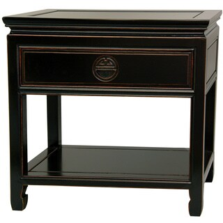 Handmade Rosewood Antique Black Bedside Table (China, People's Republic of)
