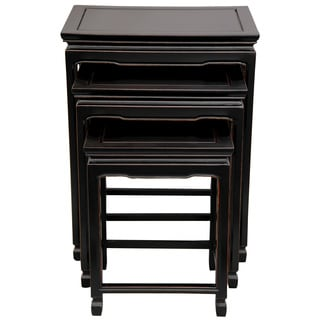 Set of 3 Rosewood Antique Black Nesting Tables (China)