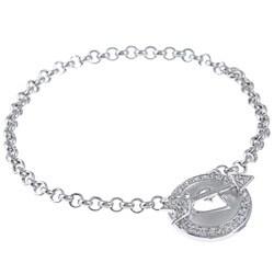 La Preciosa Sterling Silver Cubic Zirconia Heart and Arrow Bracelet